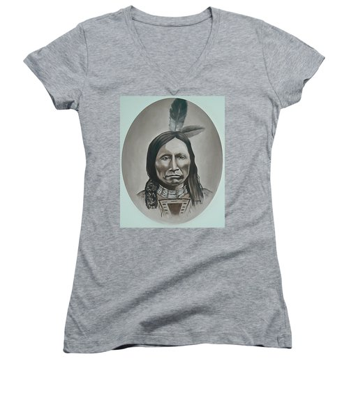 Women's V-Neck T-Shirt (Junior Cut) featuring the painting American Horse by Michael  TMAD Finney
