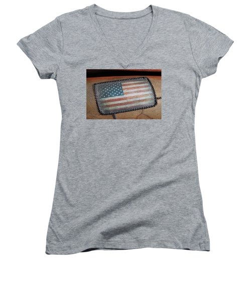 Women's V-Neck T-Shirt (Junior Cut) featuring the photograph American Leather by Christopher McKenzie
