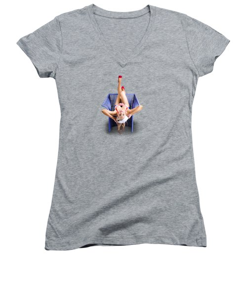 Women's V-Neck T-Shirt (Junior Cut) featuring the photograph American Pinup Woman Upside Down On Cane Chair by Jorgo Photography - Wall Art Gallery