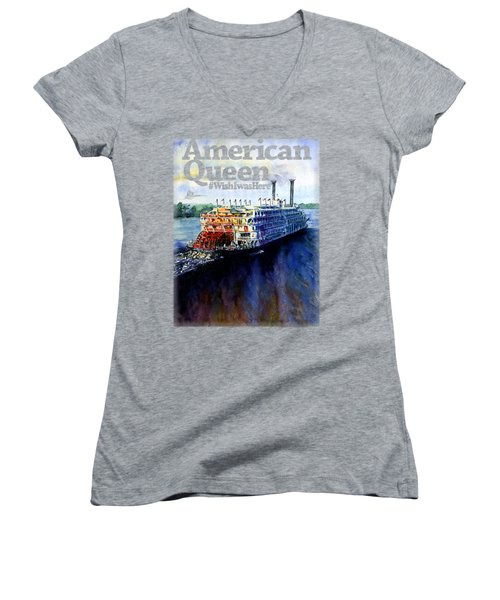 American Queen Shirt Women's V-Neck (Athletic Fit)