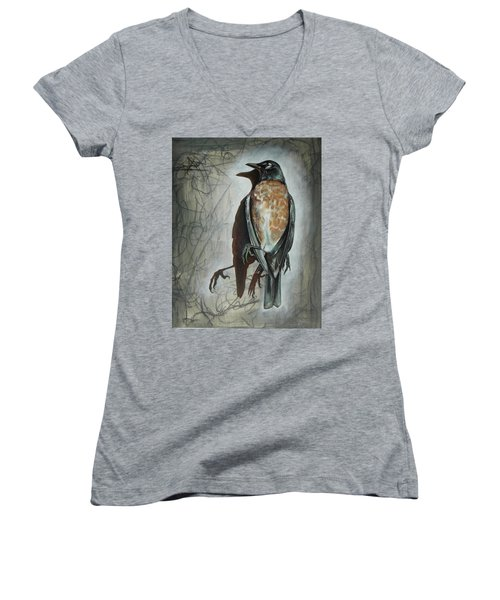 Women's V-Neck T-Shirt (Junior Cut) featuring the mixed media American Robin by Sheri Howe