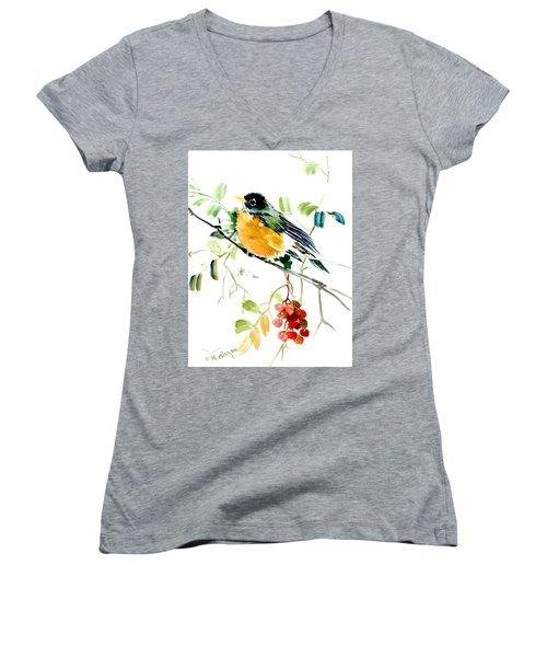American Robin Women's V-Neck T-Shirt (Junior Cut) by Suren Nersisyan
