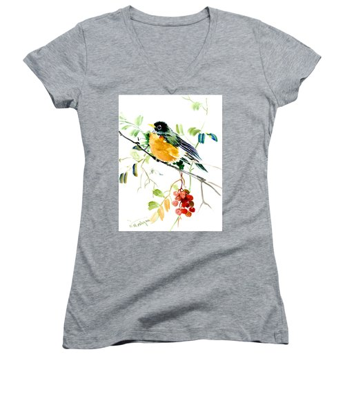 American Robin Women's V-Neck T-Shirt