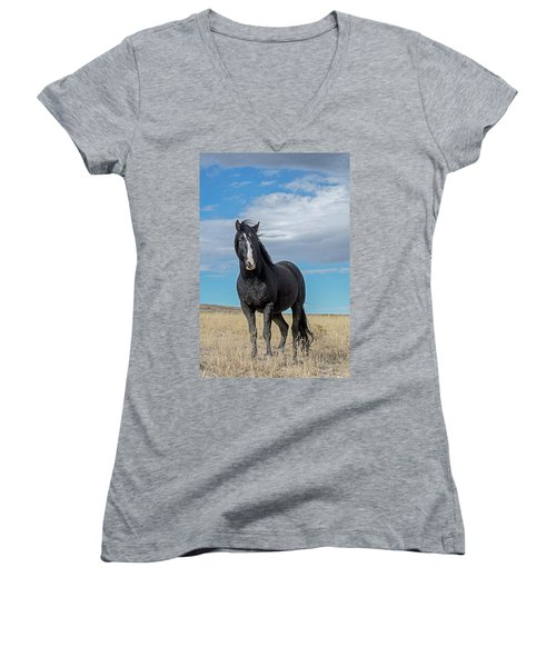 Women's V-Neck featuring the photograph American Wild Horse by Scott Read