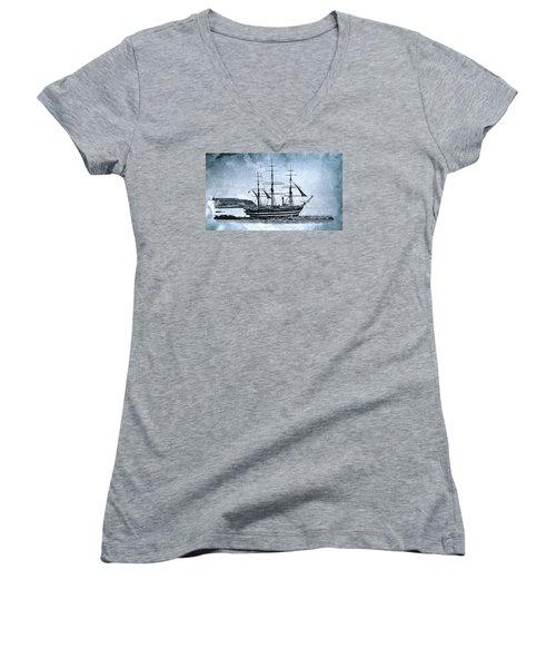 Amerigo Vespucci Sailboat In Blue Women's V-Neck T-Shirt (Junior Cut) by Pedro Cardona