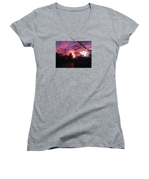 Women's V-Neck T-Shirt (Junior Cut) featuring the photograph Amethyst Sunset by Rebecca Wood