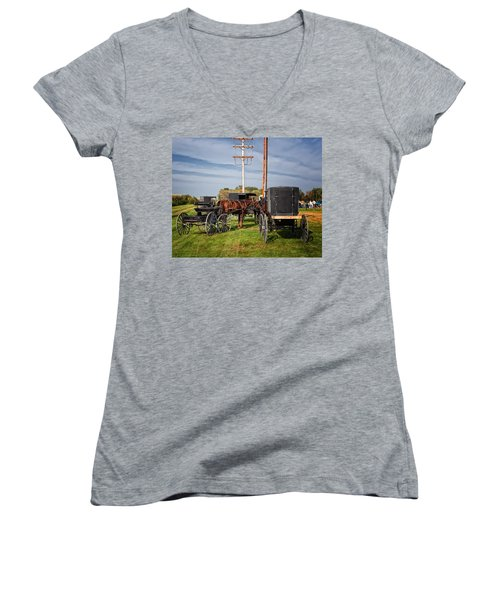 Amish At The Auction Women's V-Neck