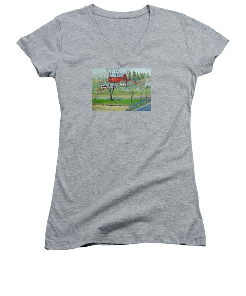 Women's V-Neck T-Shirt (Junior Cut) featuring the painting Amish Farm by Oz Freedgood