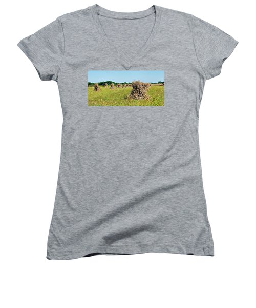 Women's V-Neck T-Shirt (Junior Cut) featuring the photograph Amish Harvest by Cricket Hackmann