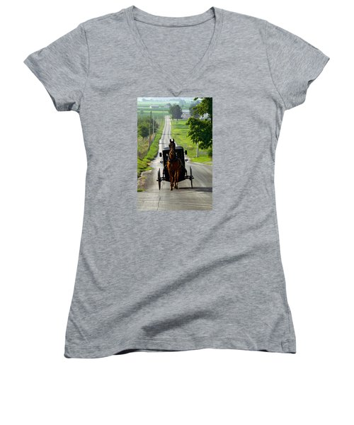 Amish Morning Commute Women's V-Neck T-Shirt (Junior Cut) by Lawrence Boothby