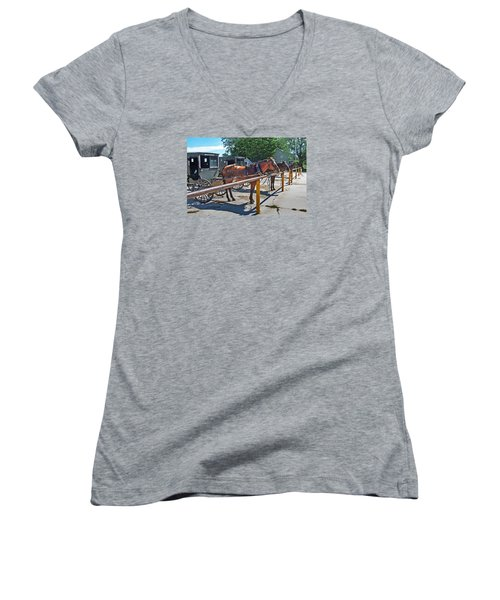 Amish Parking Lot Women's V-Neck (Athletic Fit)