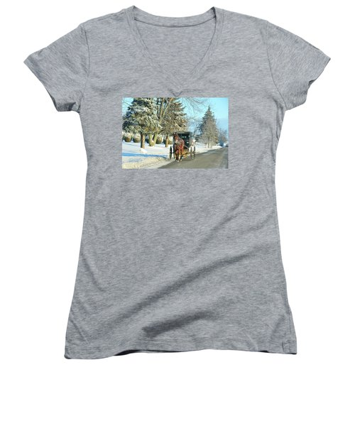 Amish Winter Women's V-Neck (Athletic Fit)