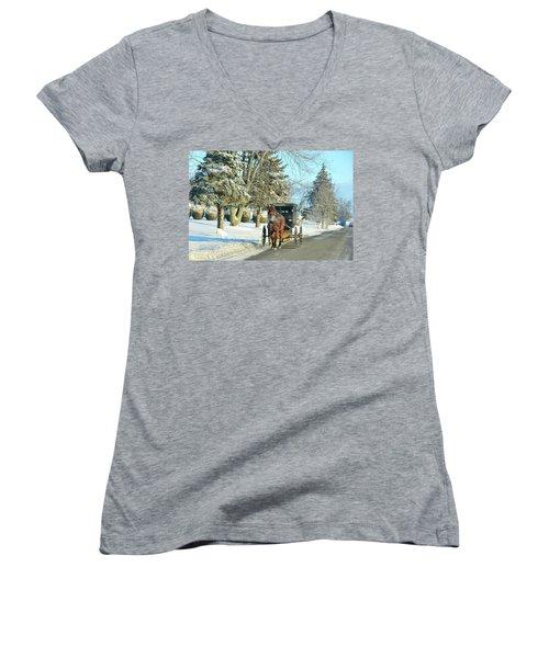 Amish Winter Women's V-Neck T-Shirt