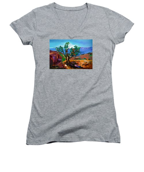 Among The Red Rocks - Sedona Women's V-Neck (Athletic Fit)