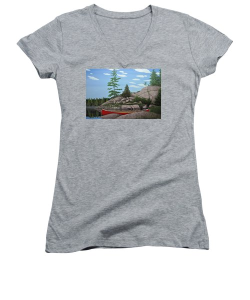 Among The Rocks II Women's V-Neck T-Shirt (Junior Cut) by Kenneth M  Kirsch