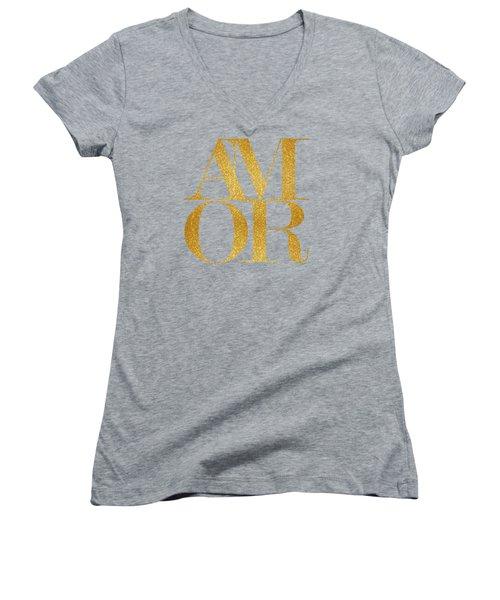 Amor Women's V-Neck T-Shirt (Junior Cut) by Liesl Marelli