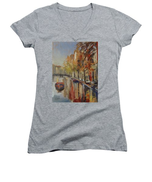 Amsterdam Autumn With Boat Women's V-Neck (Athletic Fit)