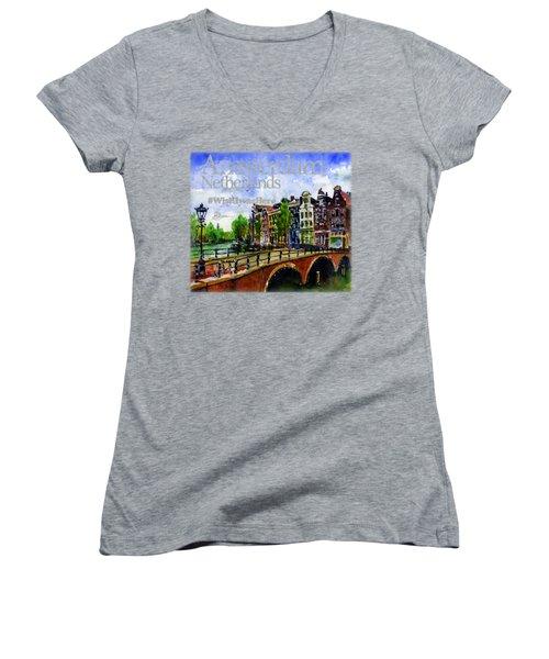 Amsterdam Netherlands Shirt Women's V-Neck (Athletic Fit)