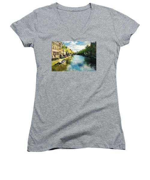 Amsterdam Waterways Women's V-Neck T-Shirt