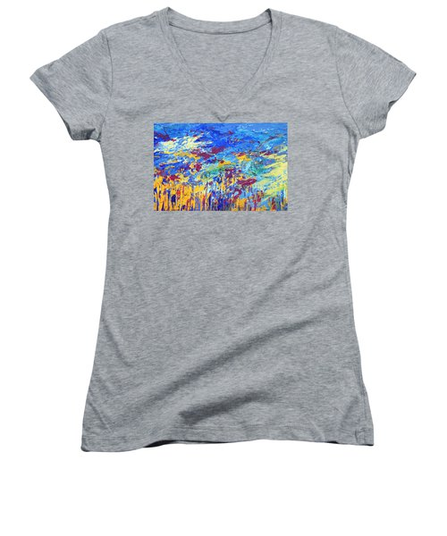 An Abstract Vision Under The Sea Women's V-Neck T-Shirt