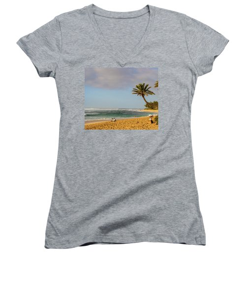 An Afternoon At Sunset Beach Women's V-Neck (Athletic Fit)