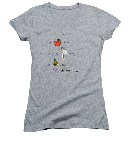 An Apple A Day Women's V-Neck T-Shirt (Junior Cut) by Humorous Quotes
