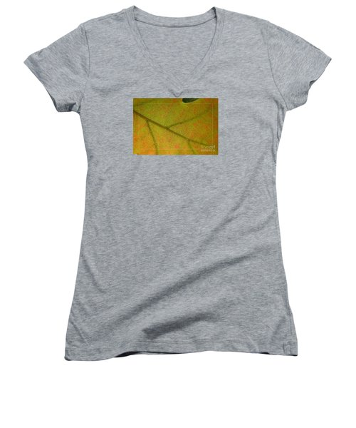 Women's V-Neck T-Shirt (Junior Cut) featuring the photograph An Autumn Leaf by Jean Bernard Roussilhe