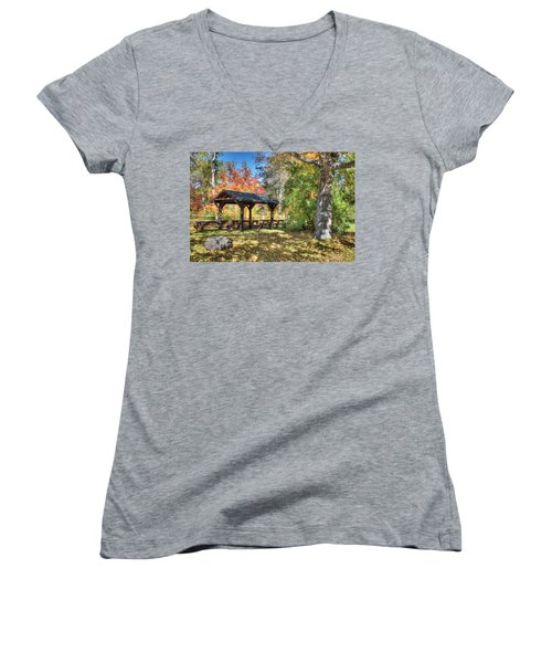 Women's V-Neck T-Shirt (Junior Cut) featuring the photograph An Autumn Picnic In Maine by Shelley Neff