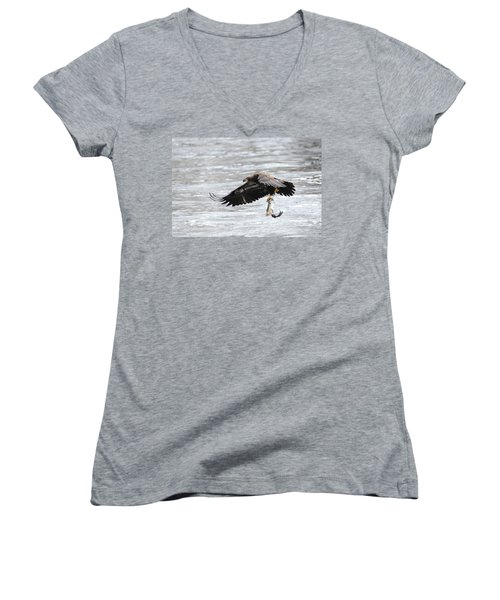 An Eagles Catch 10 Women's V-Neck T-Shirt (Junior Cut) by Brook Burling