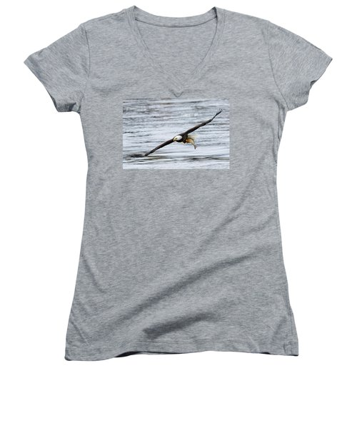 An Eagles Catch 12 Women's V-Neck T-Shirt (Junior Cut) by Brook Burling