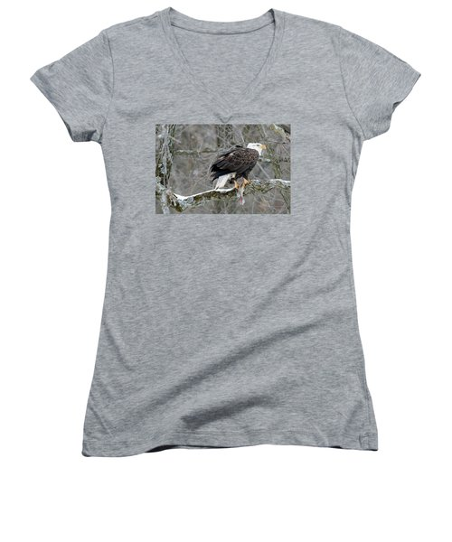 An Eagles Catch Women's V-Neck T-Shirt (Junior Cut) by Brook Burling