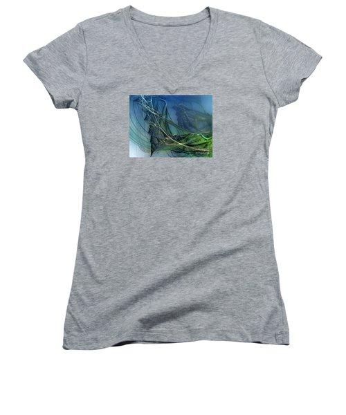 Women's V-Neck T-Shirt (Junior Cut) featuring the digital art An Echo Of Speed by Karin Kuhlmann