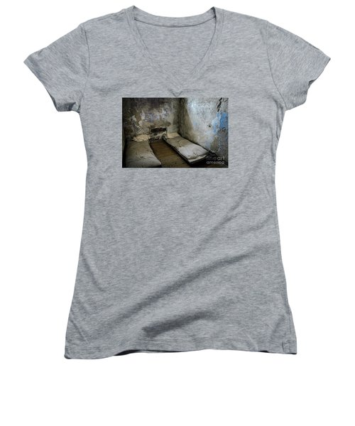 Women's V-Neck T-Shirt (Junior Cut) featuring the photograph An Empty Cell In Cork City Gaol by RicardMN Photography