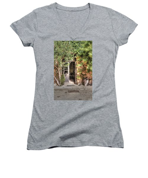 Women's V-Neck T-Shirt (Junior Cut) featuring the photograph An Entrance In Santorini by Tom Prendergast