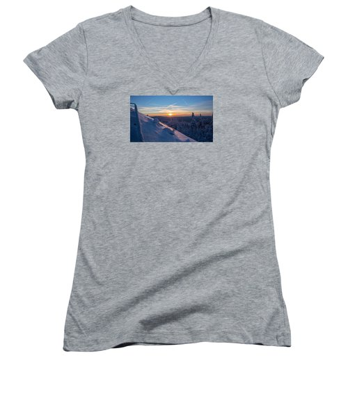 an evening on the Achtermann, Harz Women's V-Neck T-Shirt (Junior Cut) by Andreas Levi