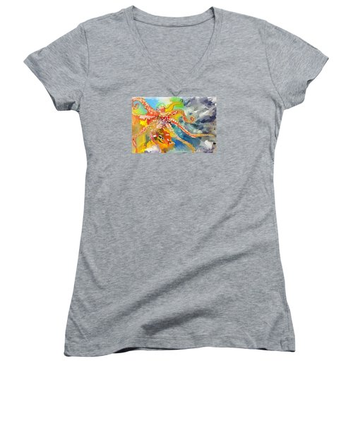 An Octopus Lunch Inspired This Painting Of An Octopus  Women's V-Neck T-Shirt