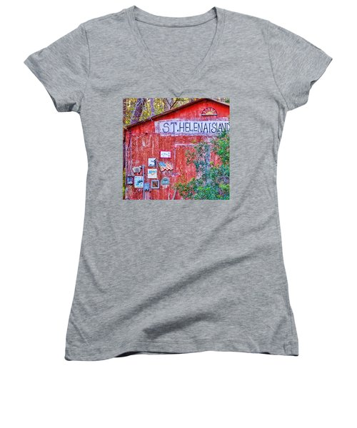 An Odd Building On St Helena Women's V-Neck (Athletic Fit)