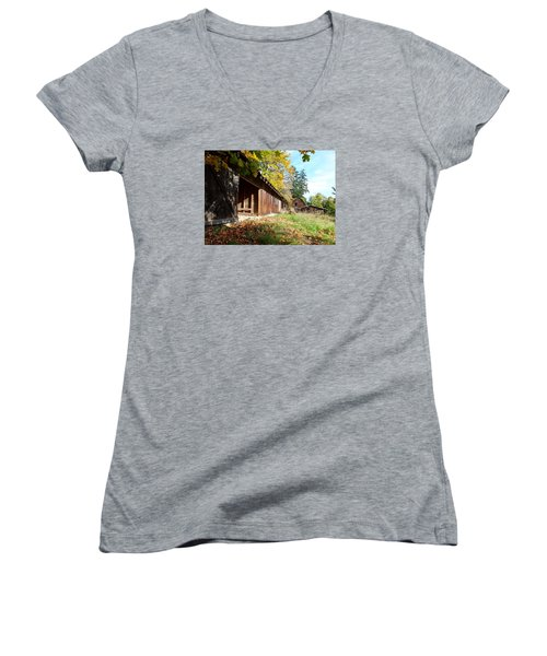 Women's V-Neck T-Shirt (Junior Cut) featuring the photograph An Old Farm by Mark Alan Perry