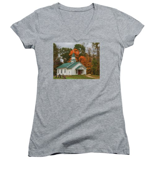 An Old Ohio Country Church In Fall Women's V-Neck