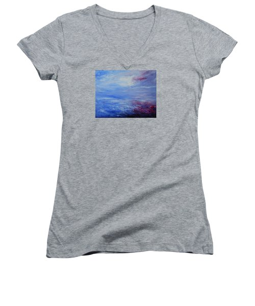 Women's V-Neck T-Shirt (Junior Cut) featuring the painting An Unspoken Message by Jane See