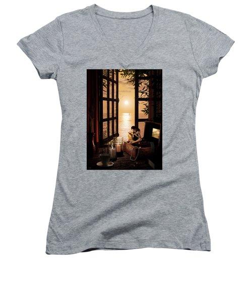 Ana Women's V-Neck T-Shirt (Junior Cut) by Shinji K