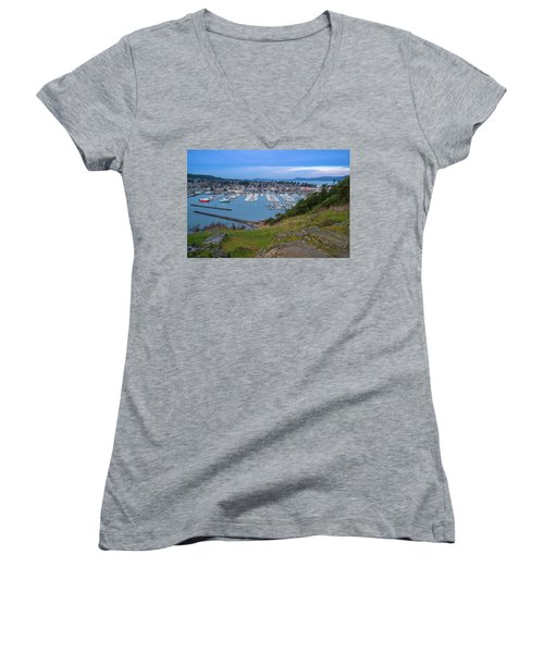 Anacortes Peaceful Morning Women's V-Neck T-Shirt (Junior Cut) by Ken Stanback