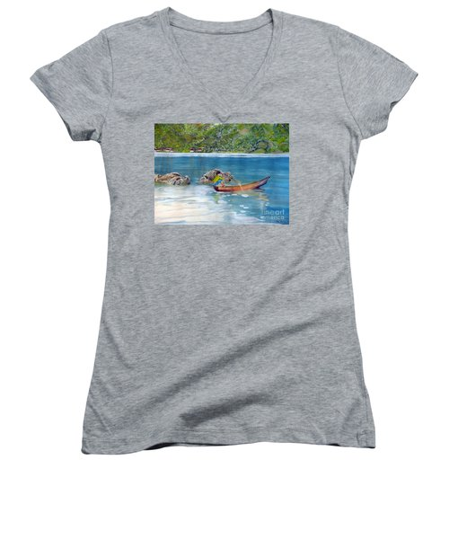 Women's V-Neck T-Shirt (Junior Cut) featuring the painting Anak Dan Perahu by Melly Terpening