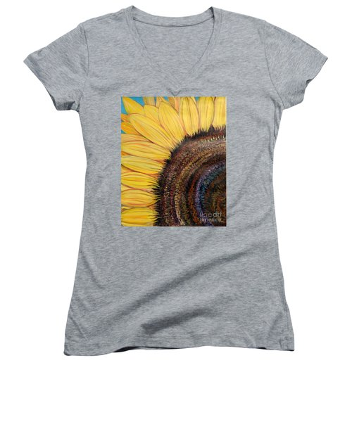 Women's V-Neck T-Shirt (Junior Cut) featuring the painting Anatomy Of A Sunflower by Ecinja Art Works