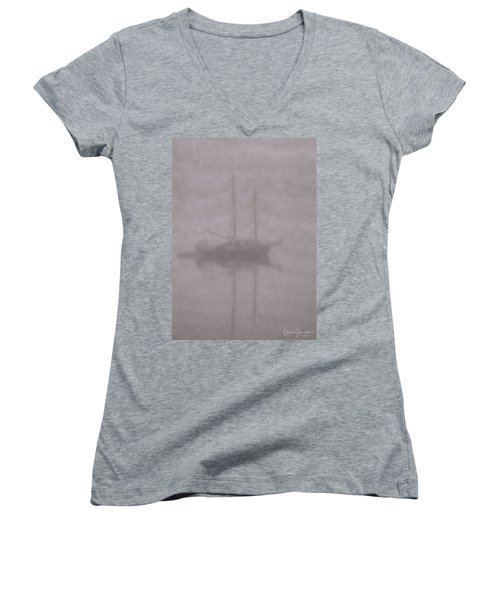 Anchored In Fog #1 Women's V-Neck T-Shirt (Junior Cut) by Wally Hampton