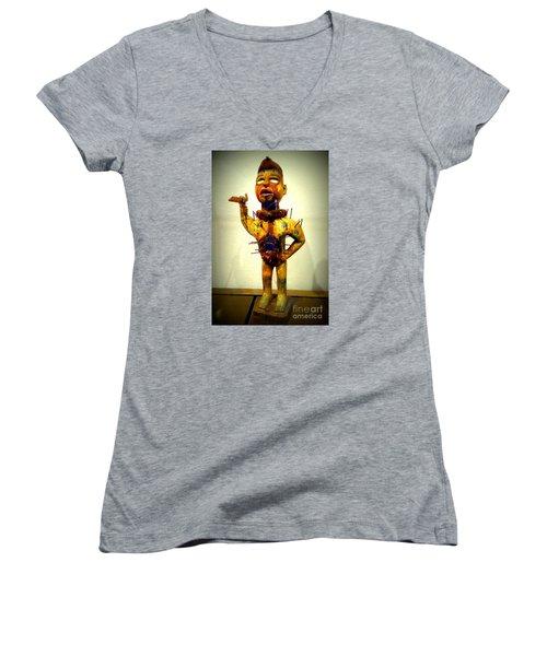 Ancient African Arifact Women's V-Neck T-Shirt (Junior Cut) by John Potts