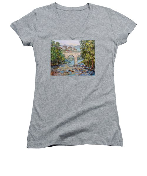 Women's V-Neck T-Shirt (Junior Cut) featuring the painting Ancient Bridge by Lou Ann Bagnall