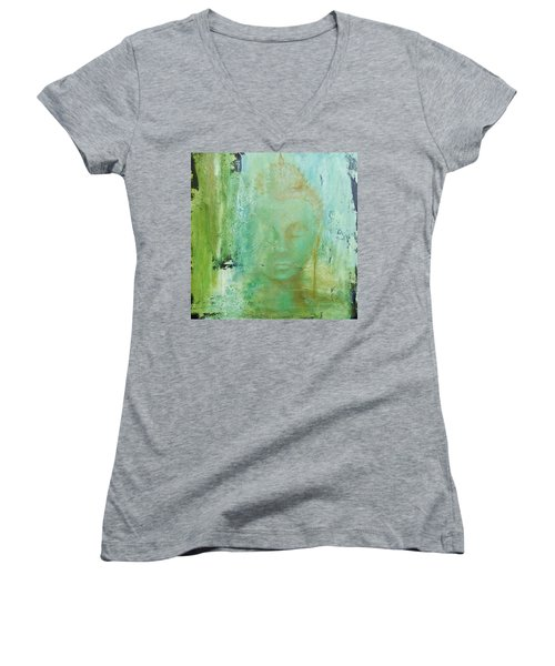 Ancient Buddha Women's V-Neck T-Shirt (Junior Cut) by Dina Dargo