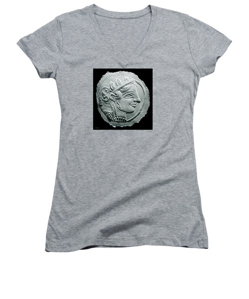 Ancient Greek Relief Seal Drawing Women's V-Neck T-Shirt (Junior Cut) by Suhas Tavkar