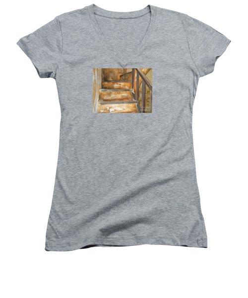 Ancient Stairway Women's V-Neck T-Shirt (Junior Cut) by Roberta Byram